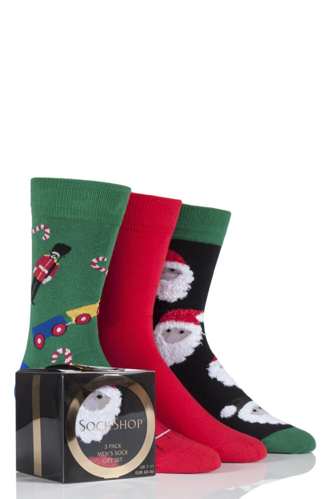 Mens 3 Pair SockShop Gift Boxed Santa and Toys Christmas Design Novelty Cotton Socks