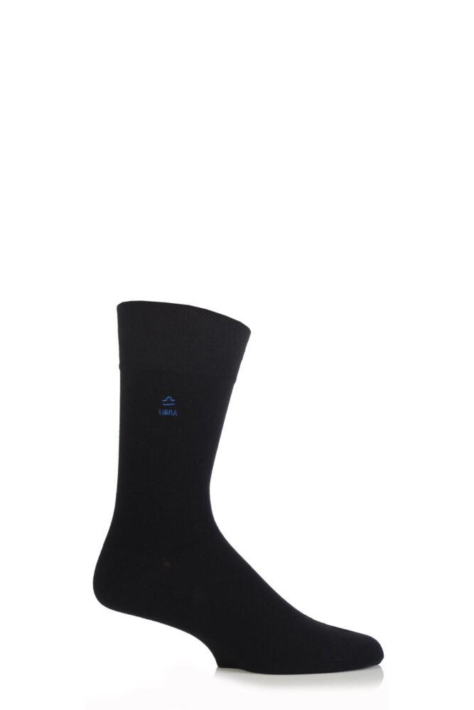 Mens 1 Pair SockShop Individual Signs Of The Zodiac Black Embroidered Socks