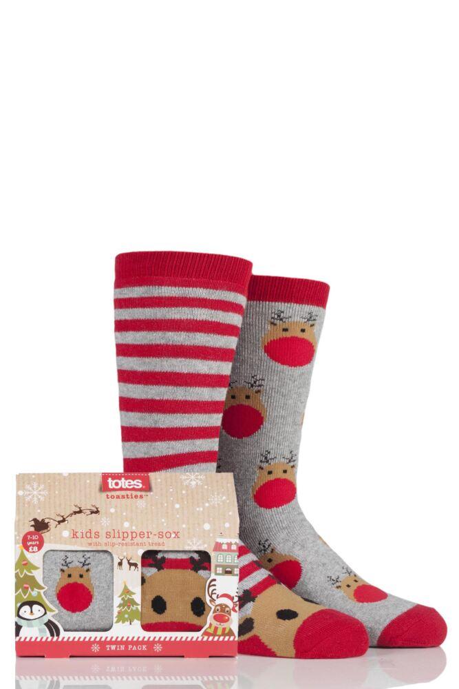Boys and Girls 2 Pair Christmas Novelty Reindeer Slipper Socks with Grip
