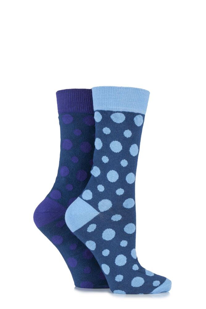 Ladies 2 Pair HJ Hall Polperro Spotty Cotton Socks 25% OFF