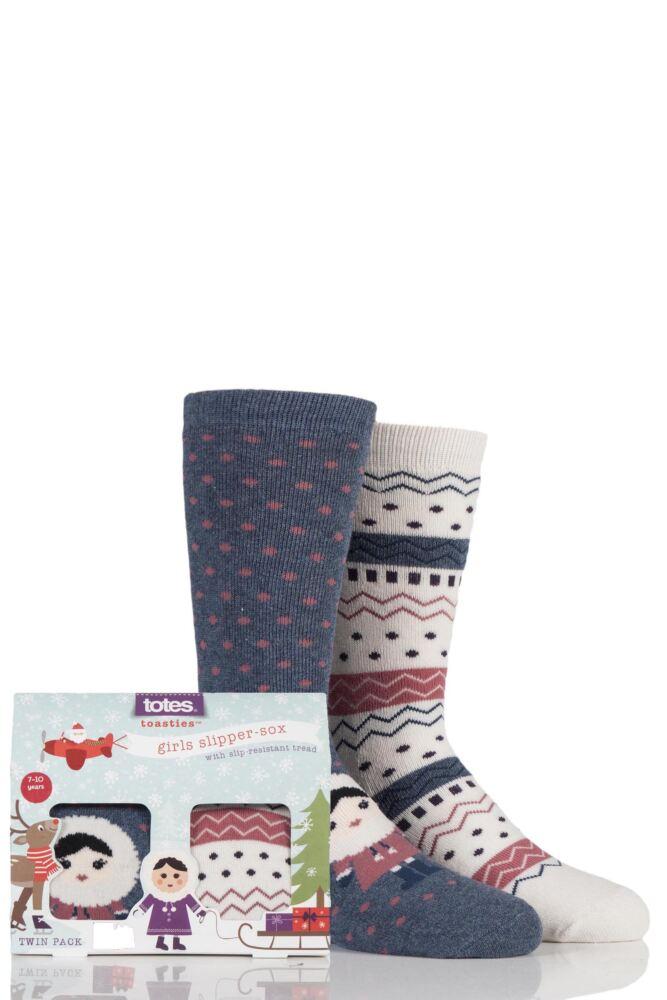 Boys and Girls 2 Pair Totes Eskimo Fairisle Original Slipper Socks with Grip