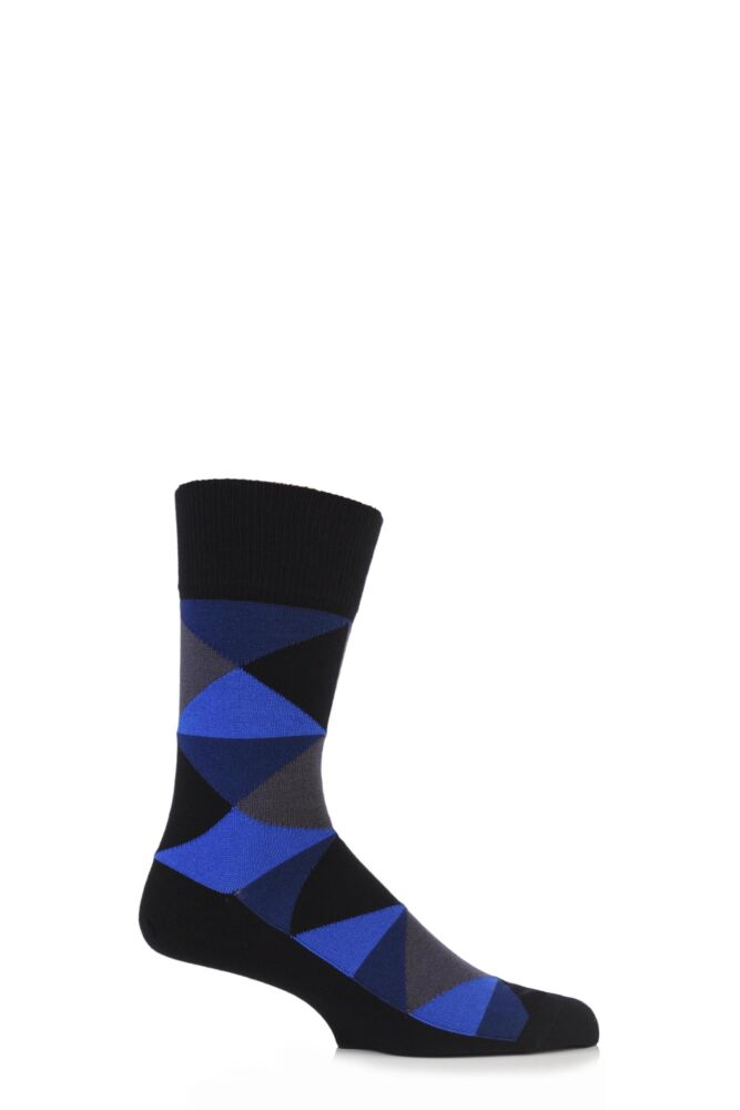 Mens 1 Pair Falke Diamond Argyle Bright Cotton Socks