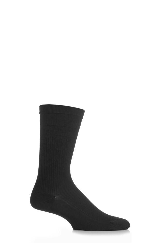Mens 1 Pair Pantherella Cotton Ribbed Comfort Top Socks