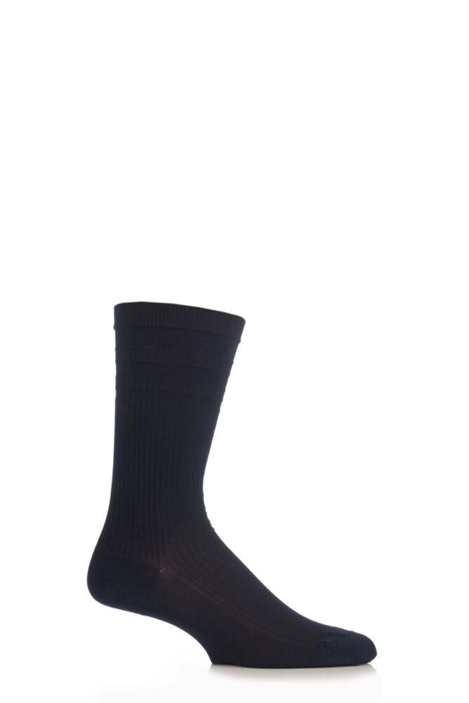 Mens 1 Pair Pantherella Cotton Ribbed Comfort Top Socks