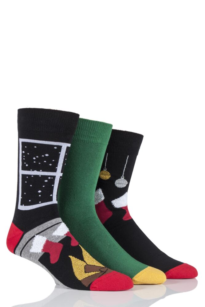 Mens 3 Pair SockShop Just For Fun Stockings and Fire Place Christmas Design Novelty Socks