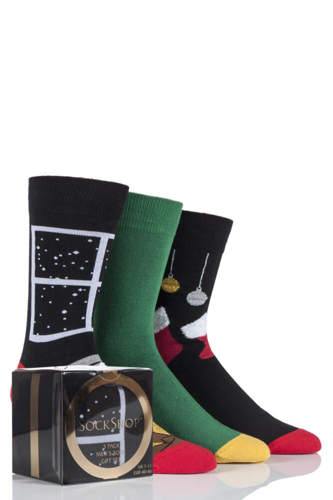 Mens 3 Pair SockShop Gift Boxed Stockings and Fire Place Christmas Design Novelty Cotton Socks