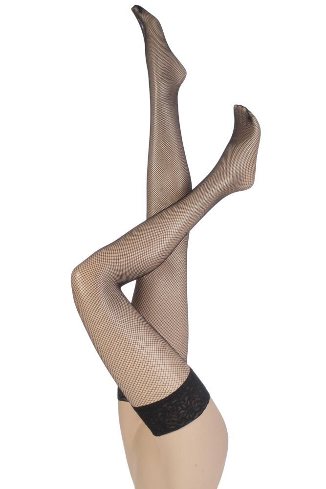 Ladies 1 Pair Levante Fishnet Lace Top Hold Ups