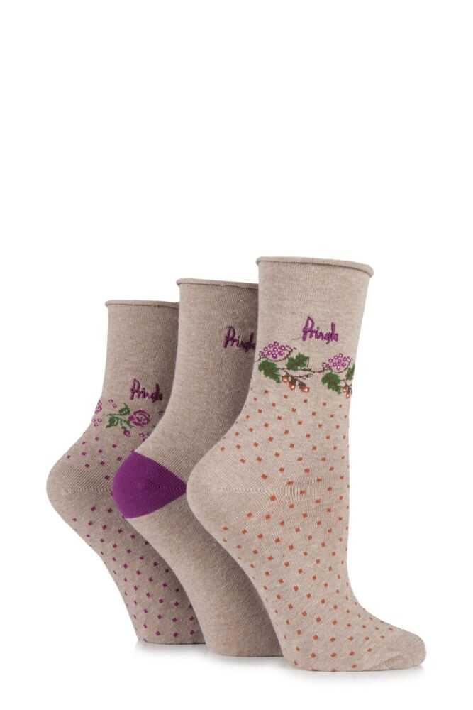 Ladies 3 Pair Pringle Kim Plain, Floral and Micro Square Patterned Cotton Socks