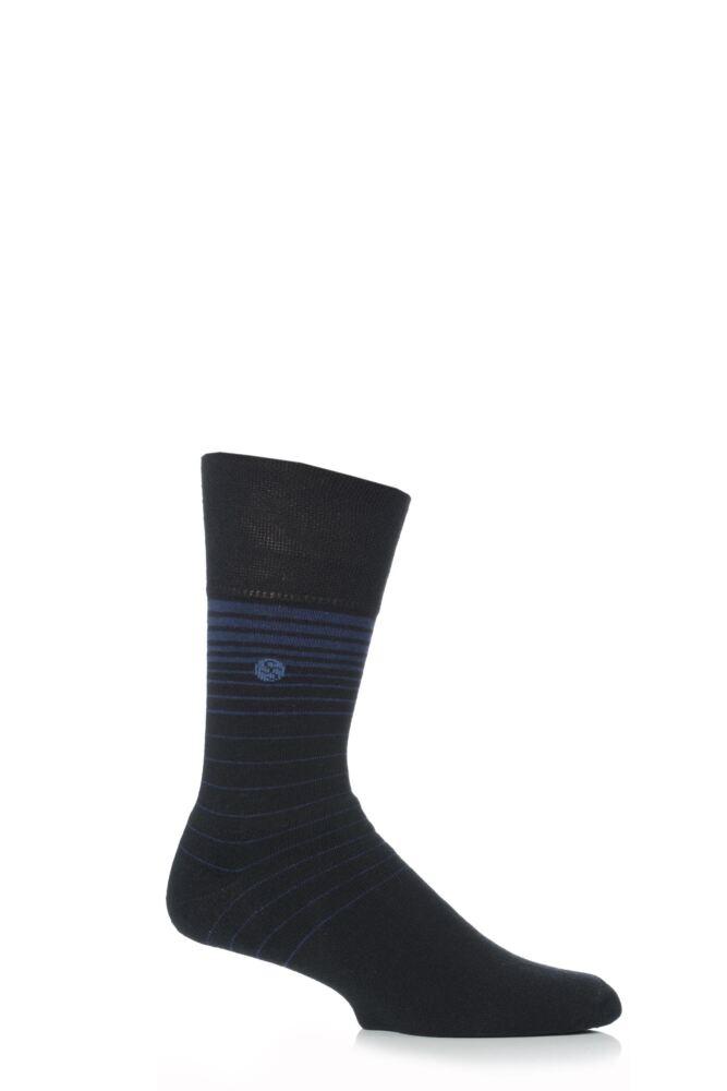 Mens 1 Pair Gentle Grip Cushioned Foot Staggered Stripe Socks