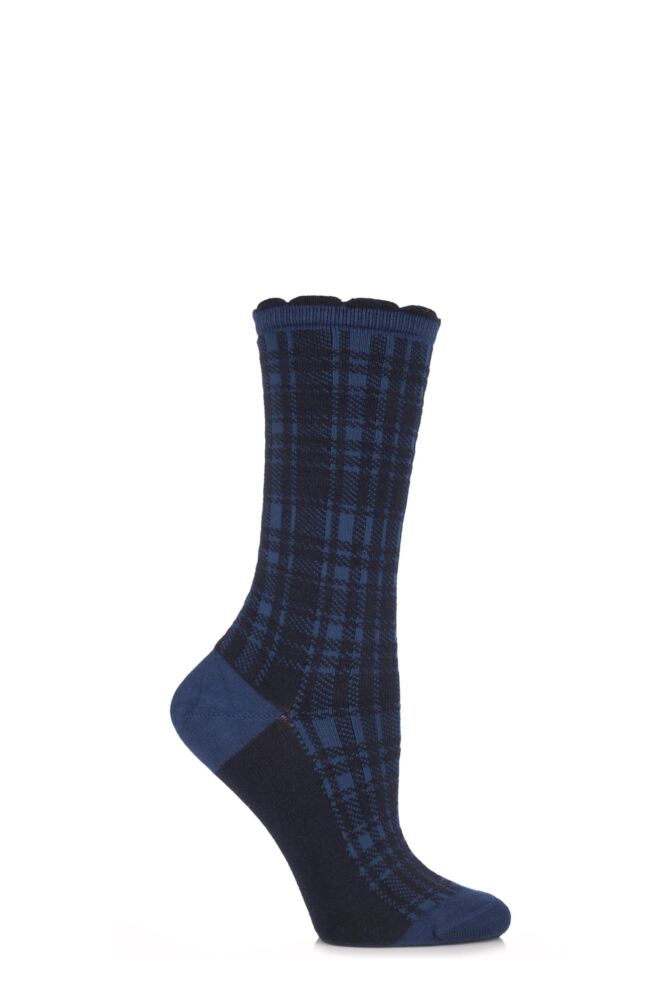 Ladies 1 Pair Falke Glen Plaid Tartan Check Cotton Socks
