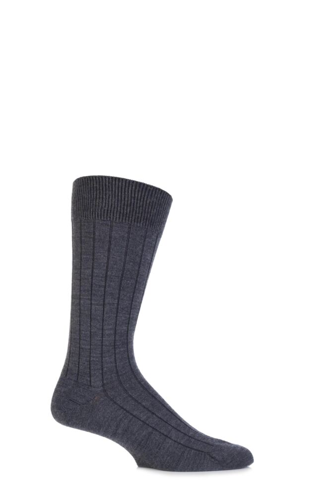 Mens 1 Pair John Smedley Omega Merino Wool Ribbed Socks