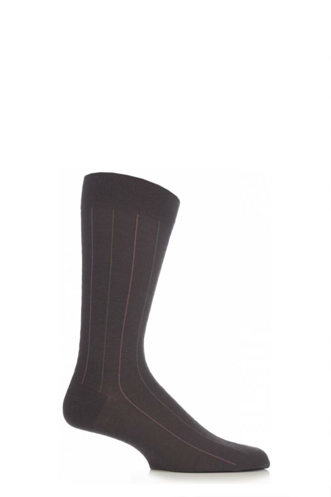 Mens 1 Pair Pantherella Traditional Pinstripe Merino Wool Socks
