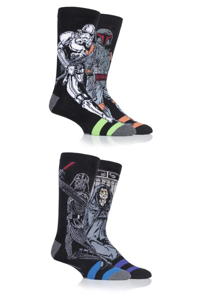 Mens 4 Pair SockShop Disney Star Wars Villains Darth Vader, Boba Fett, Emperor and Stormtrooper Socks