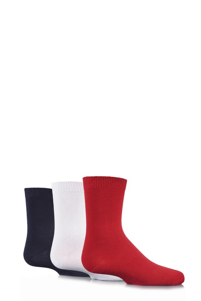 Boys and Girls 3 Pair SockShop Plain Bamboo Socks with Handlinked Toe Seams In Red, White and Navy