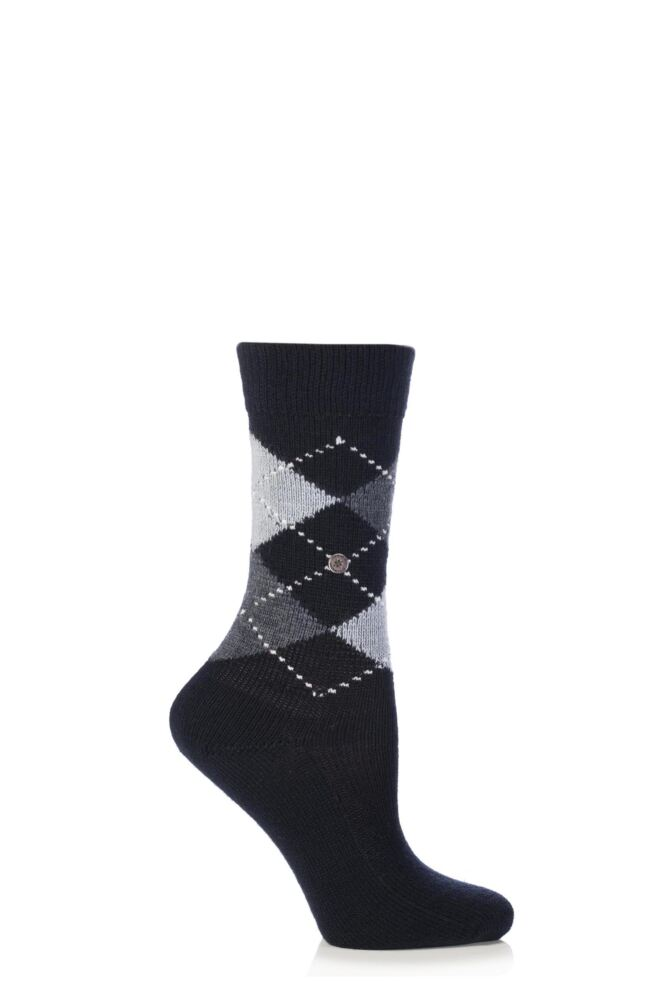 Ladies 1 Pair Burlington Whitby Extra Soft Argyle Socks