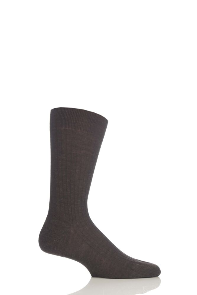 Mens 1 Pair Pantherella Rib Cotton Lisle Socks