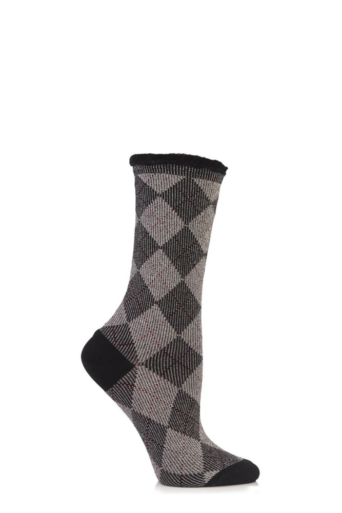 Ladies 1 Pair Burlington Lurex Argyle Cotton Socks 75% OFF