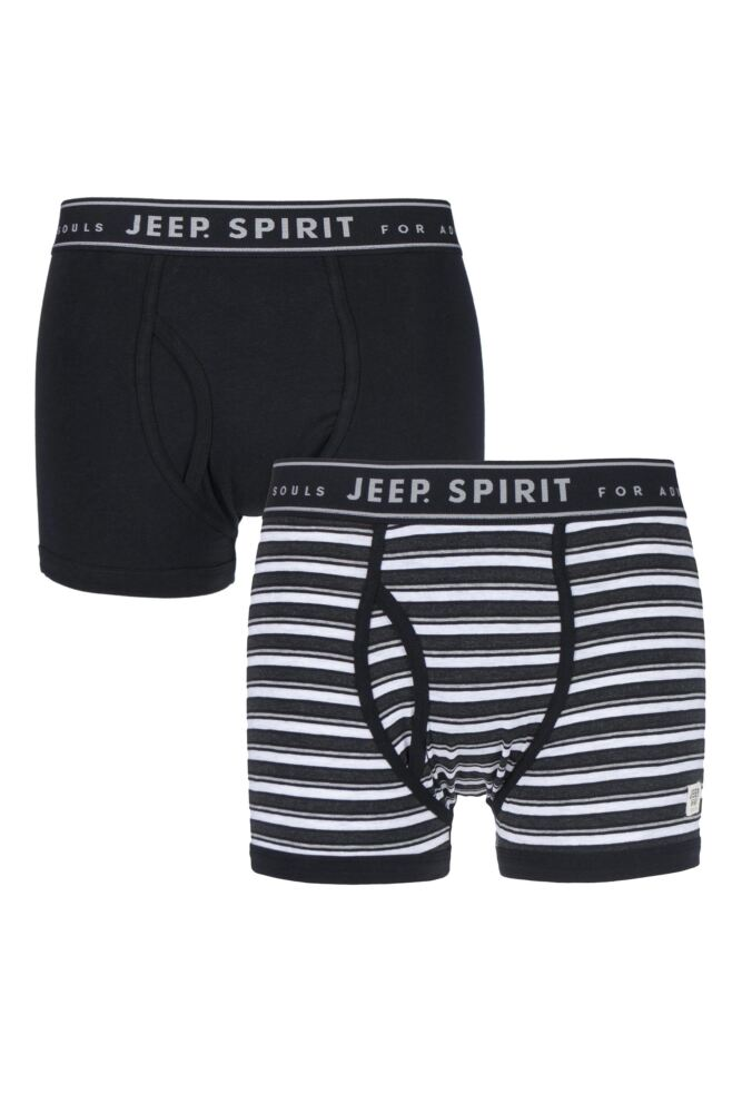 Mens 2 Pack Jeep Spirit Varried Stripe and Plain Cotton Rich Keyhole Trunks