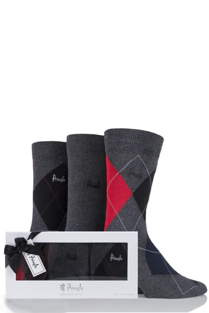 Mens 3 Pair Pringle Strathaven Argyle Design Cotton Socks Gift Box