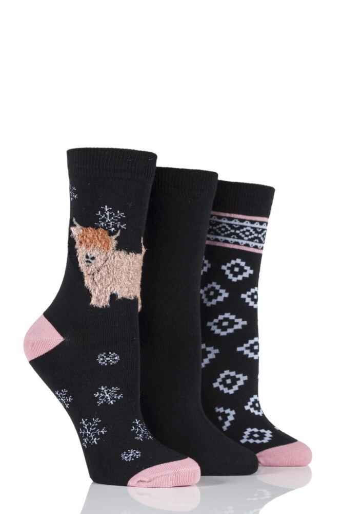 Ladies 3 Pair SockShop Just For Fun Highland Cow Design Novelty Cotton Socks
