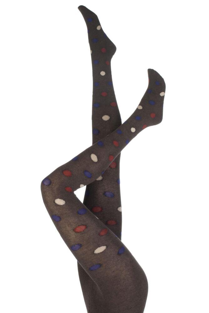 Ladies 1 Pair Oroblu Natural Fibers Denise Polka Dot Cotton Tights 75% OFF