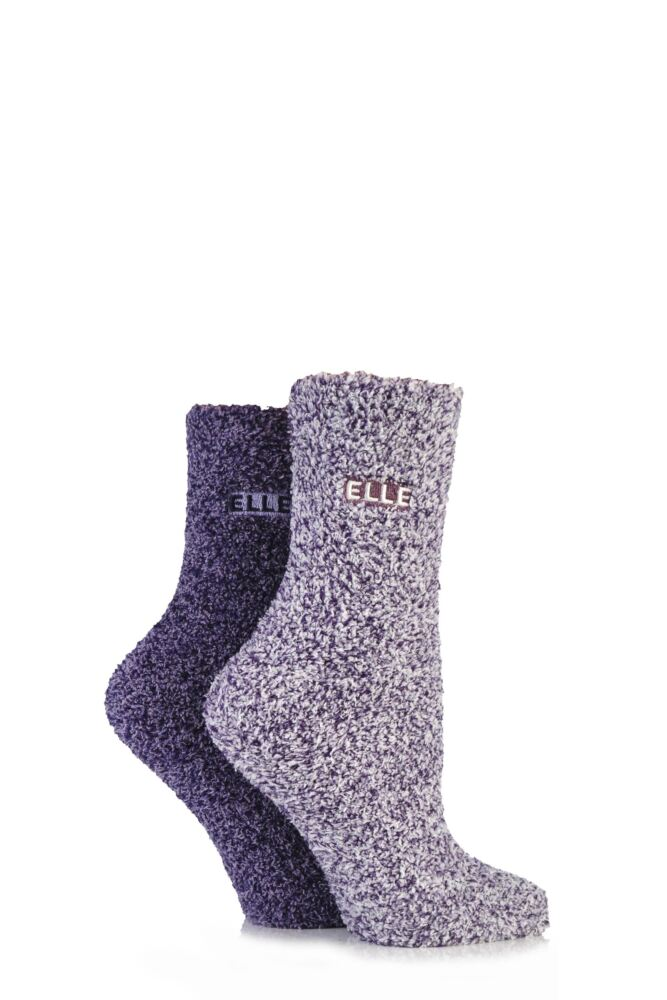 Girls 2 Pair Young Elle Two Tone Soft and Cosy Bed Socks