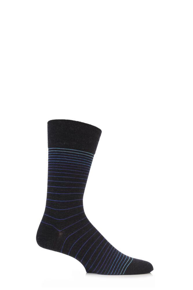 Mens 1 Pair Falke Fine Striped Virgin Wool Socks 25% OFF