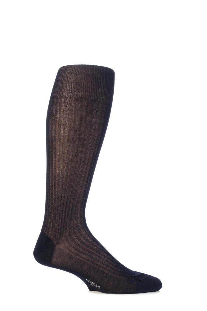 Mens 1 Pair Viyella Half Hose Mercerised Cotton Socks With Hand Linked Toe