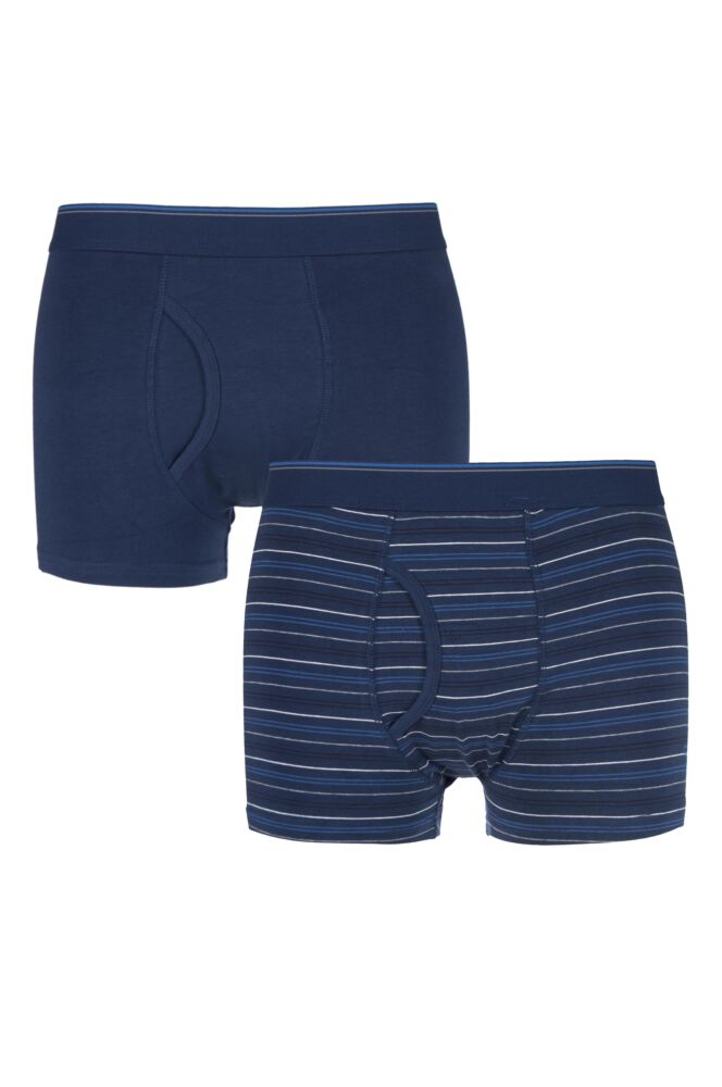 Mens 2 Pack Farah Classic Striped and Plain Boxer Trunks In Navy