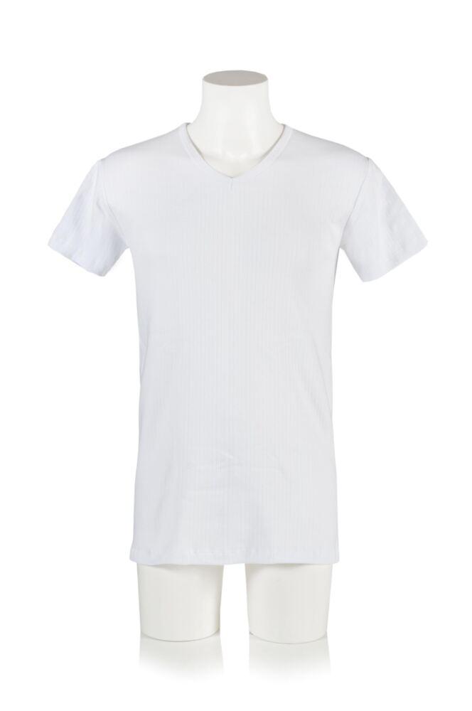 Mens 1 Pack Heat Holders V Neck Short Sleeved Thermal Vest