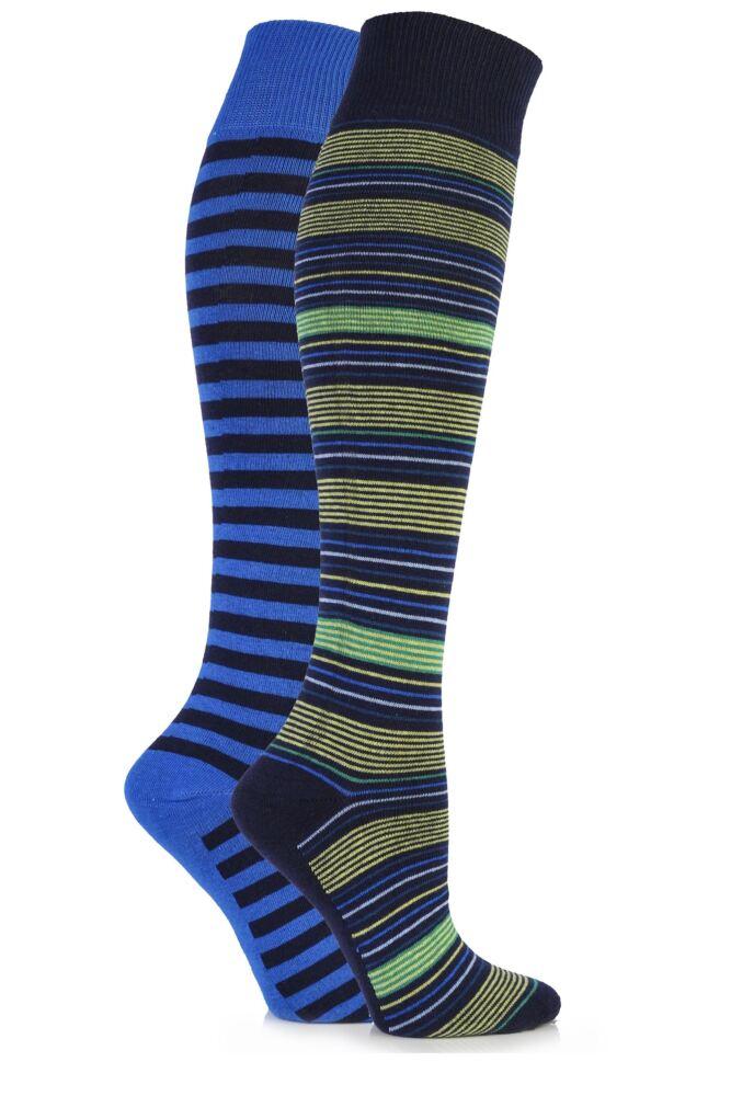 Ladies 2 Pair Elle Multi Striped Cotton Knee High Socks