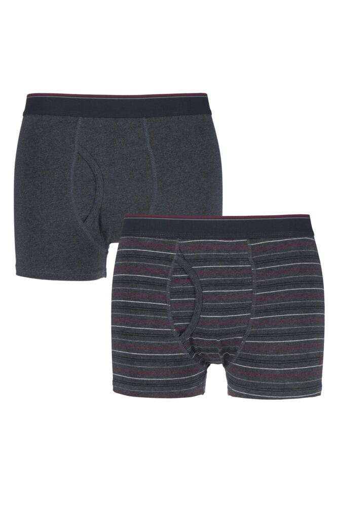 Mens 2 Pack Farah Classic Striped and Plain Boxer Trunks In Charcoal