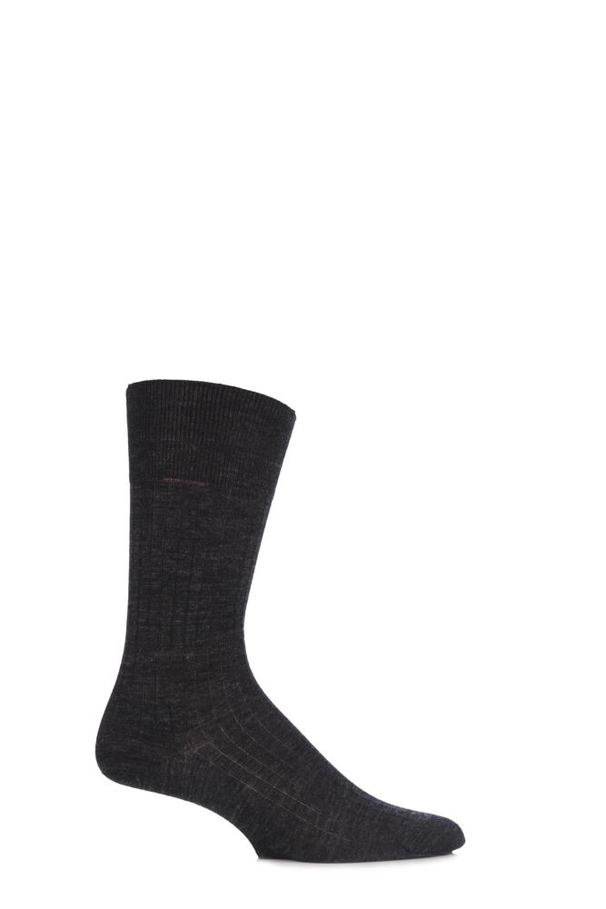 Mens 1 Pair Hugo Boss William Plain Ribbed Merino Wool Socks