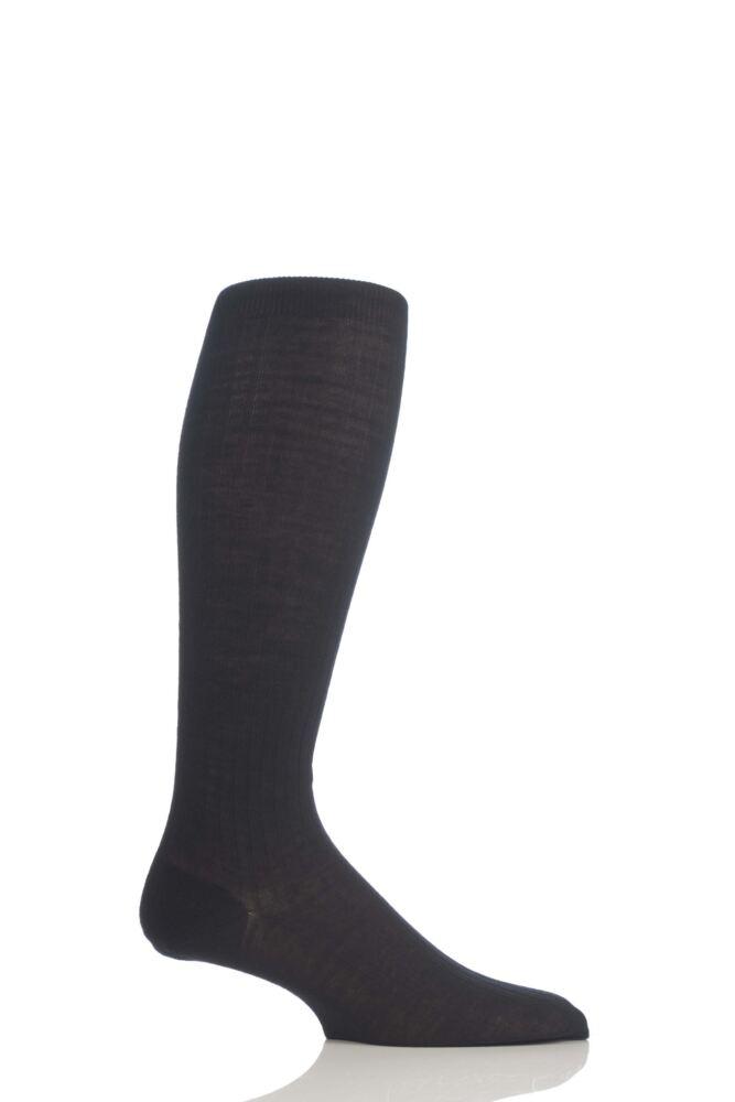 Mens 1 Pair Pantherella Rib Cotton Lisle Knee High Socks