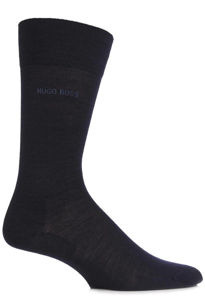 Mens 1 Pair Hugo Boss John Plain Fine Wool and Soft Cotton Comfort Cuff Socks