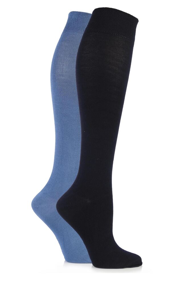 Ladies 2 Pair Sockshop Plain Bamboo Knee High Socks