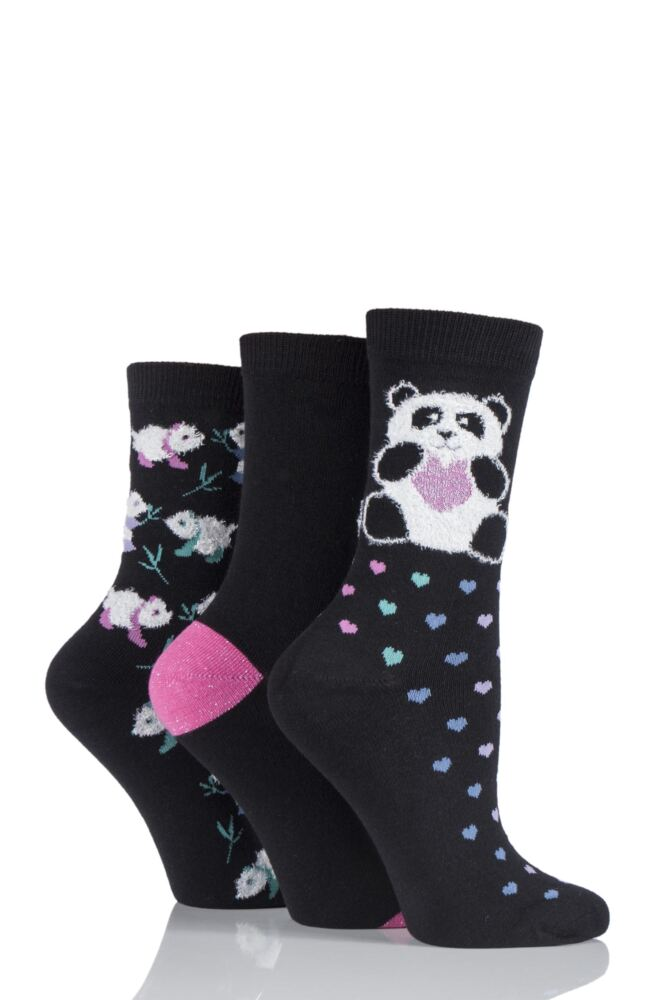 Ladies 3 Pair SockShop Just For Fun Panda and Love Heart Novelty Cotton Socks