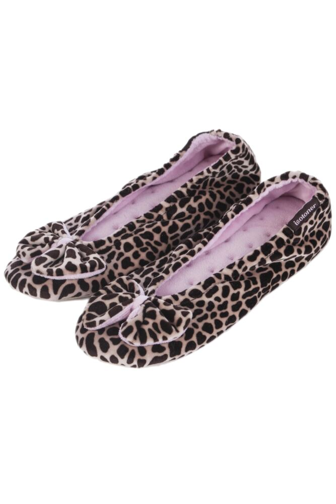 Ladies 1 Pair Isotoner Velour Big Bow Ballerina Slippers In Brown 50% OFF