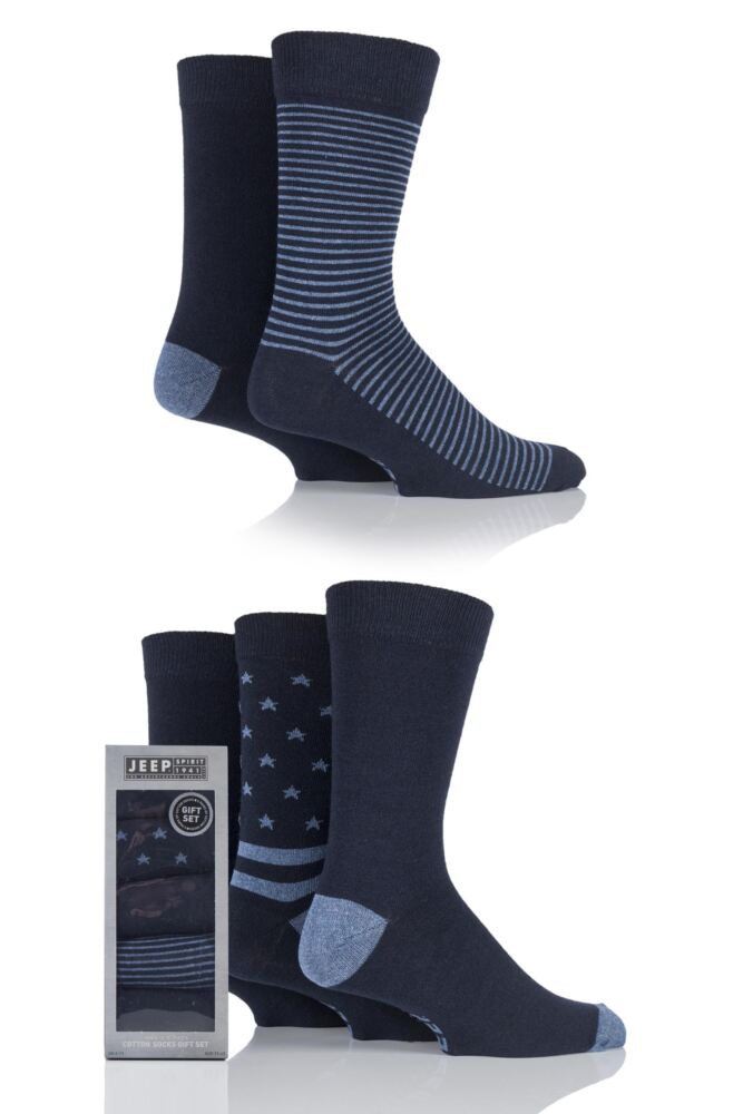 Mens 5 Pair Jeep Spirit Stars and Stripes Cotton Socks Gift Box