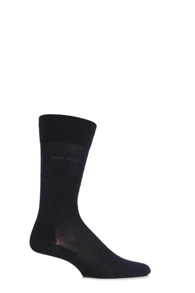 Mens 1 Pair Hugo Boss George 80% Mercerised Cotton Dotted Socks