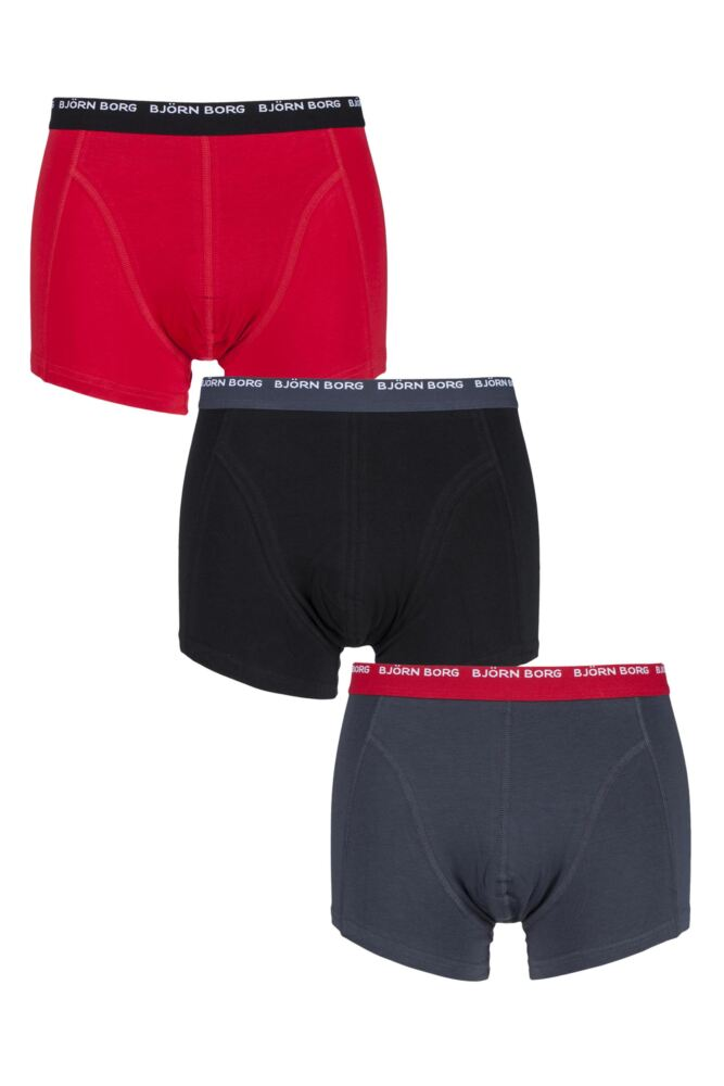 Mens 3 Pack Bjorn Borg Cotton Short Shorts In India Ink