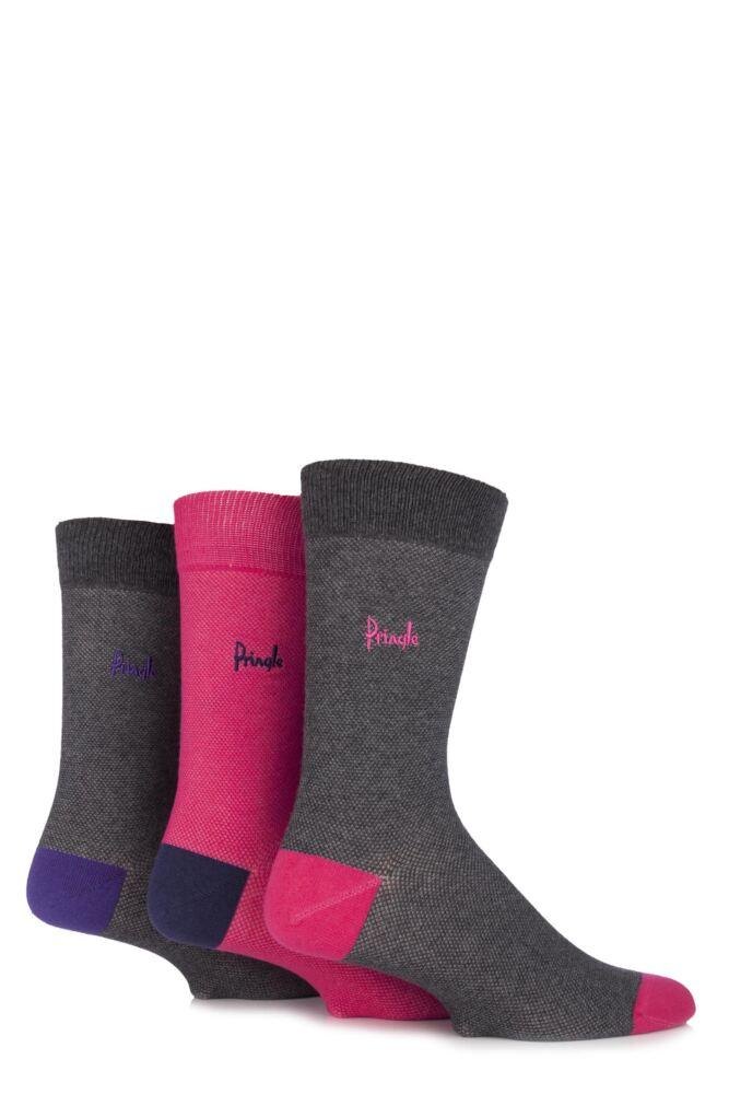 Mens 3 Pair Pringle Burghead Contrast Heel and Toe Cotton Socks