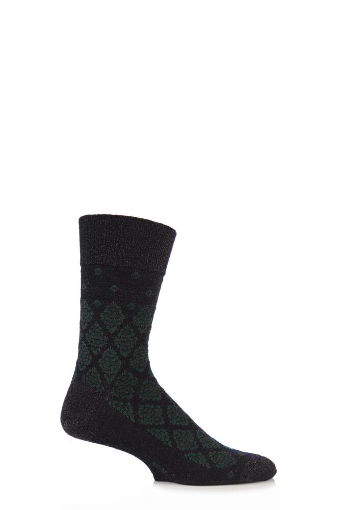 Mens 1 Pair Burlington Ornament Virgin Wool Floral Glitter Argyle Socks 33% Off