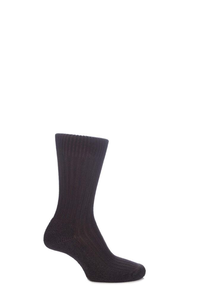 Mens and Ladies 1 Pair SockShop of London Bamboo Short Ribbed Boot Socks With Cushioning