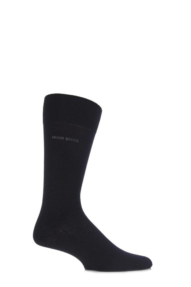 Mens 1 Pair Hugo Boss John Plain Finest Wool and Soft Cotton Socks