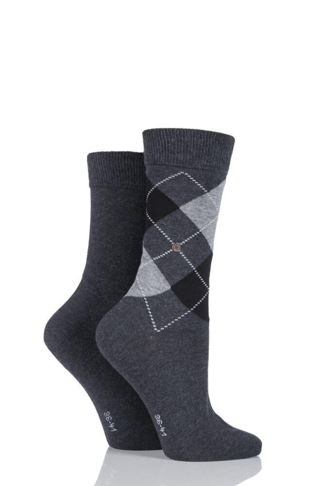 Ladies 2 Pair Burlington Cotton and Plain Socks LIMITED EDITION
