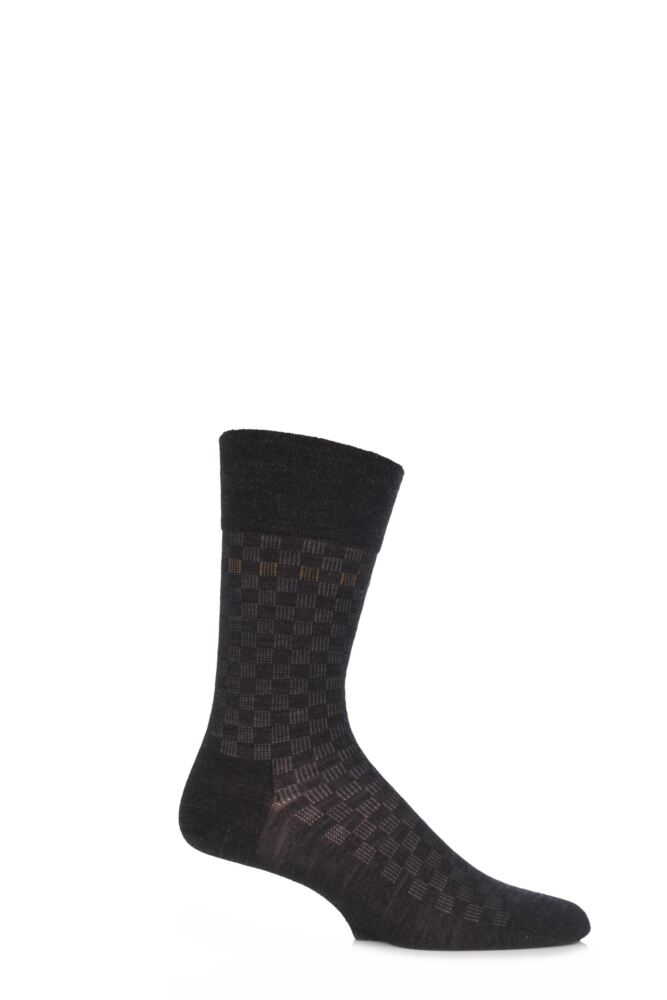 Mens 1 Pair Falke Sensitive Chequered Virgin Wool Socks