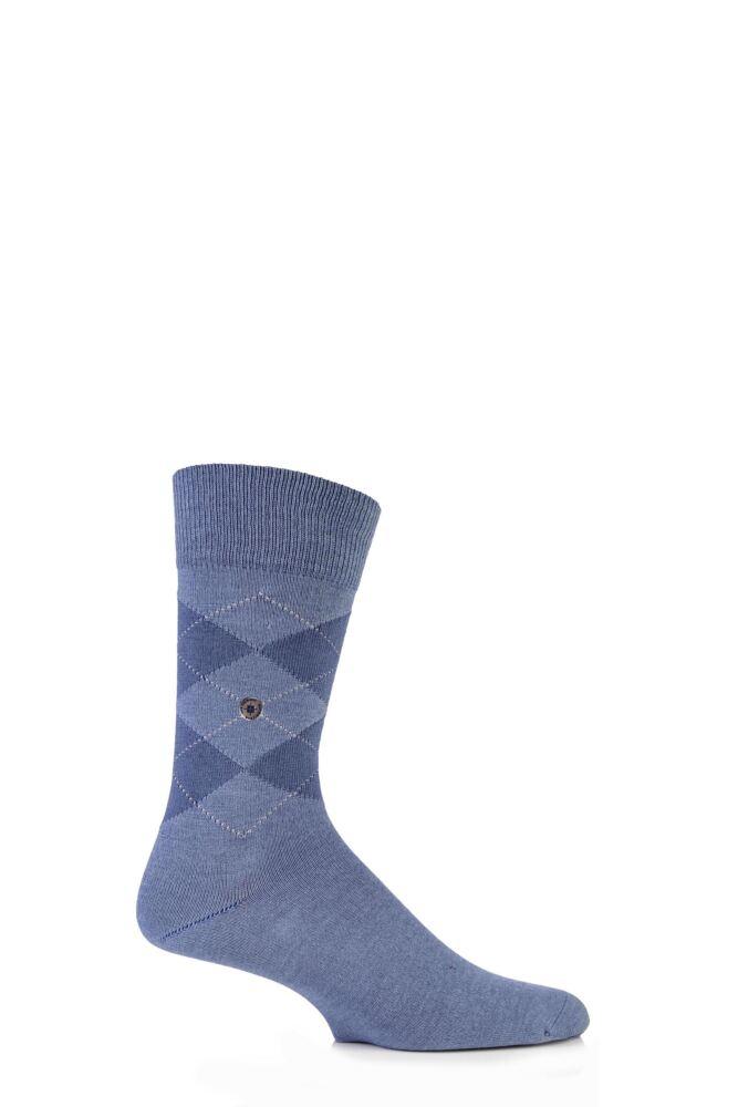 Mens 1 Pair Burlington Denim Argyle Cotton Socks