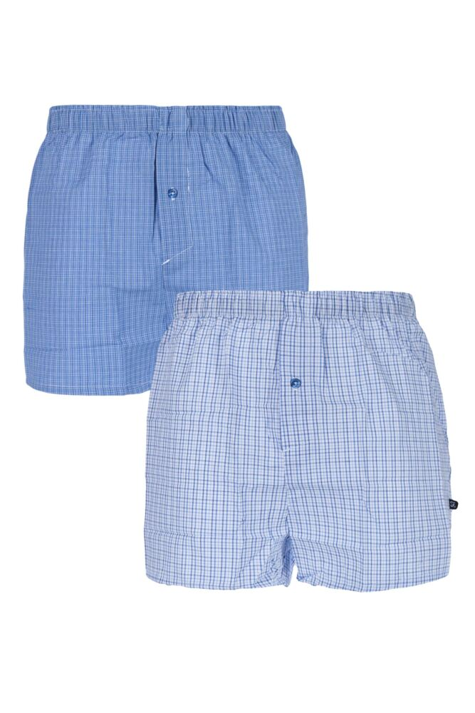 Mens 2 Pack Farah 100% Cotton Checked Woven Boxers In Blue