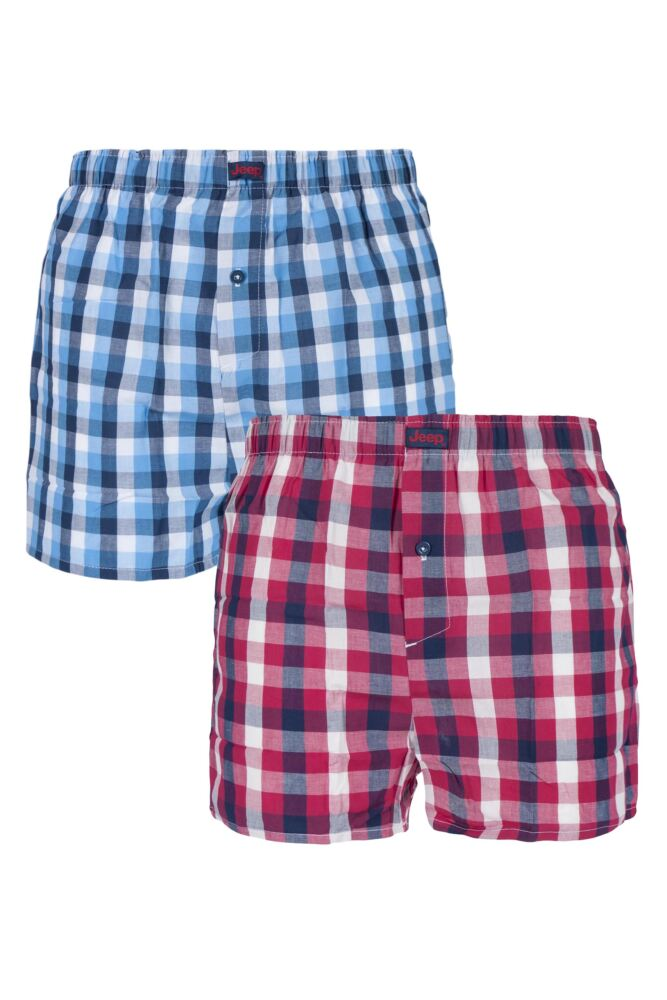 Mens 2 Pack Jeep Woven Boxer Shorts In Red
